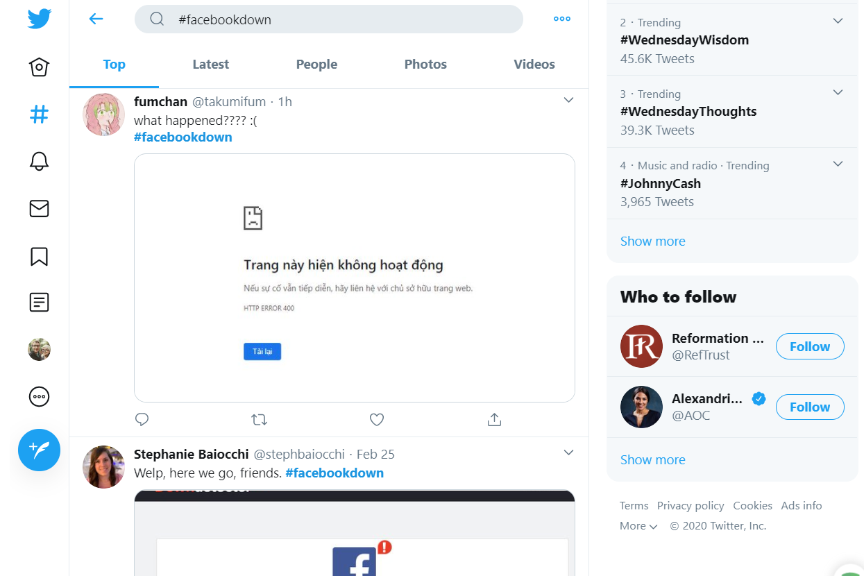 Twitter search for facebookdown