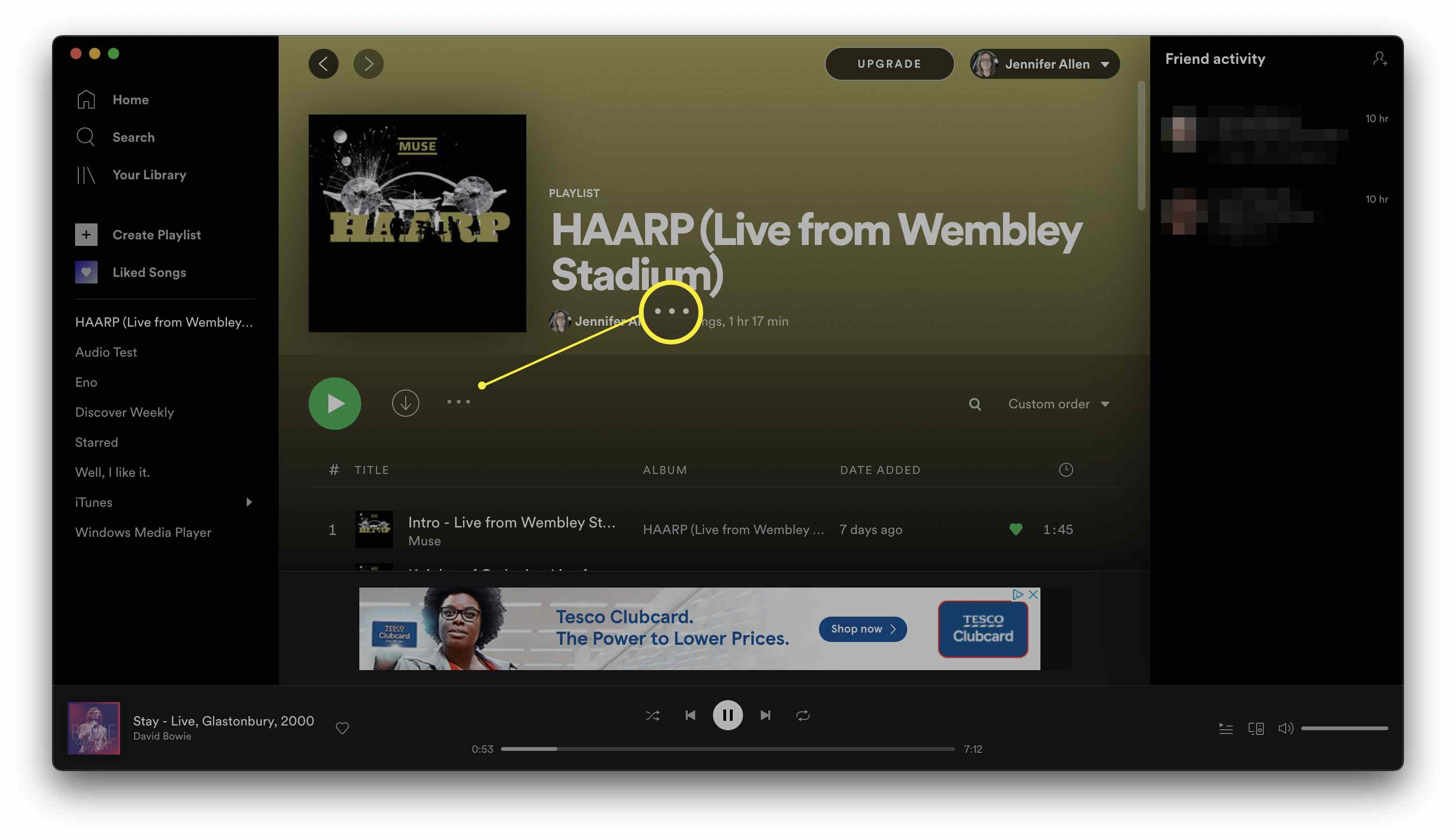 Spotify with a playlist open and the three dots underneath a playlist name highlighted