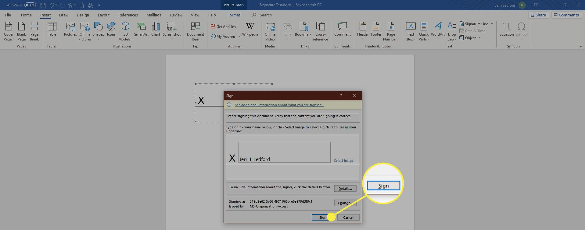 The Sign dialog box in MS Word.