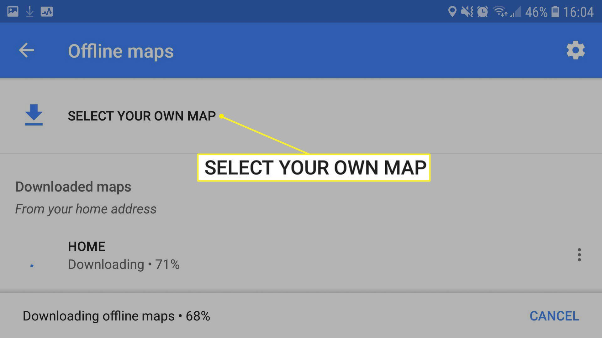 Offline maps screen with Select Your Own Map highlighted