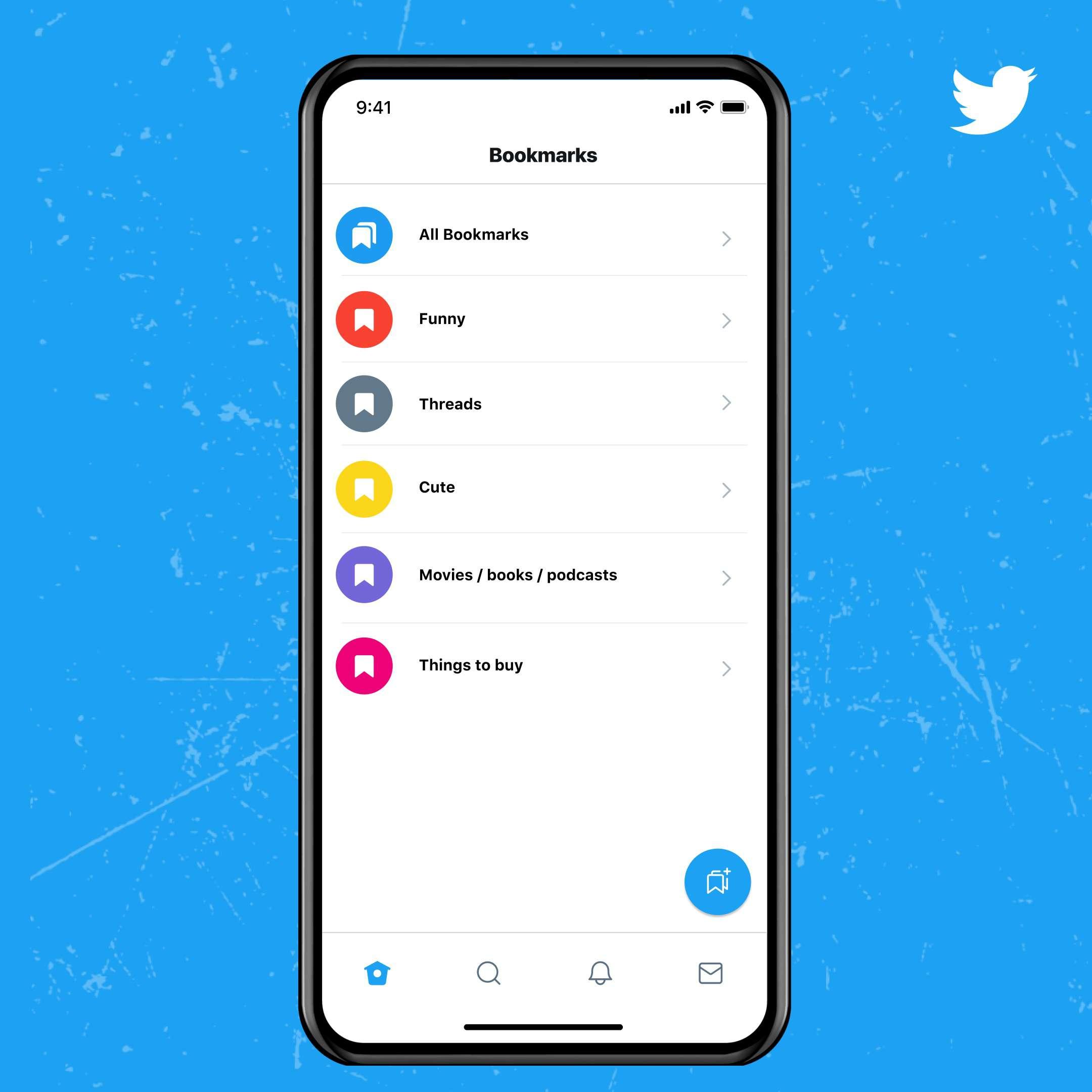 Twitter Blue Bookmark Folder feature
