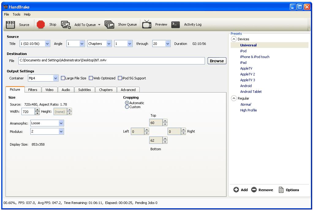 HandBrake main screen