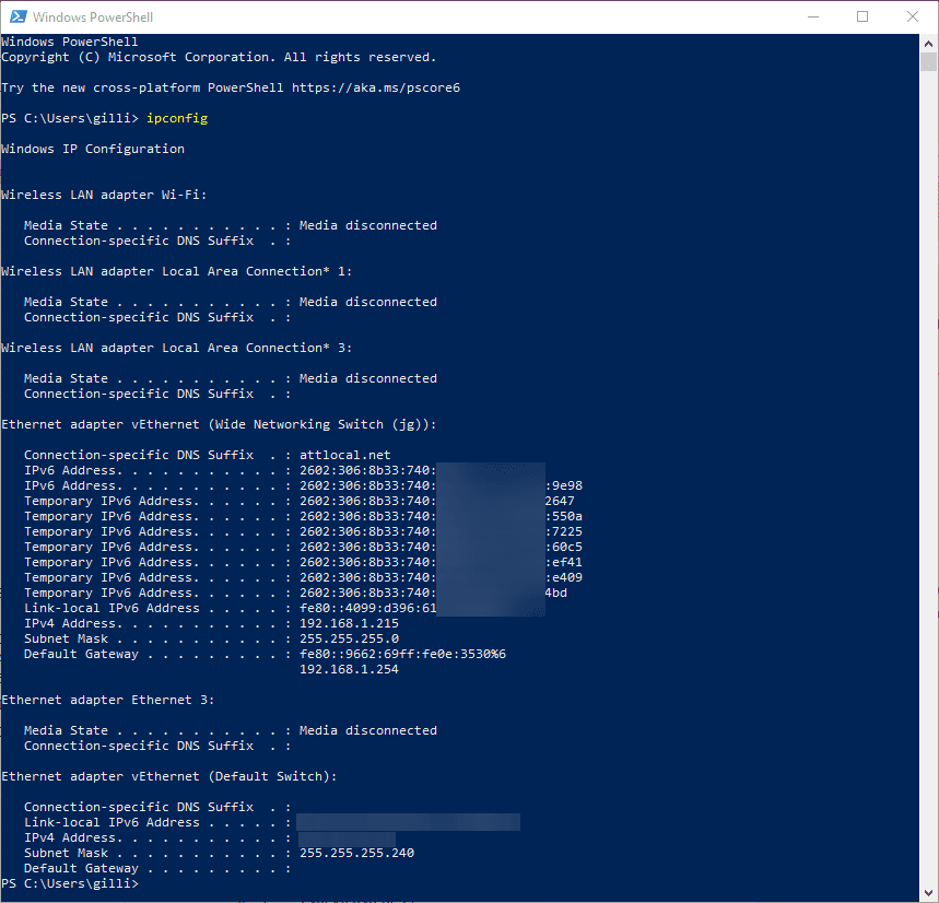 ipconfig results in powershell