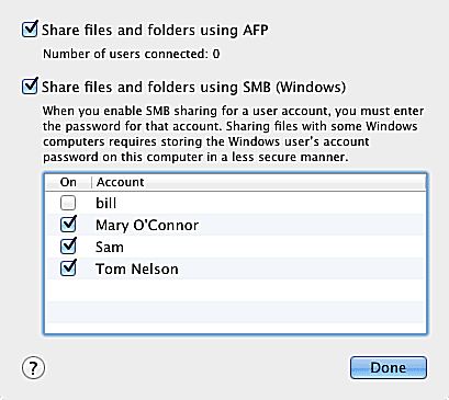 Share OS X Lion Files With Windows 7 PCs