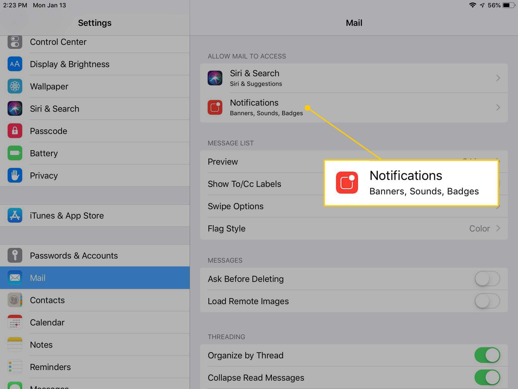 Notifications settings in iOS