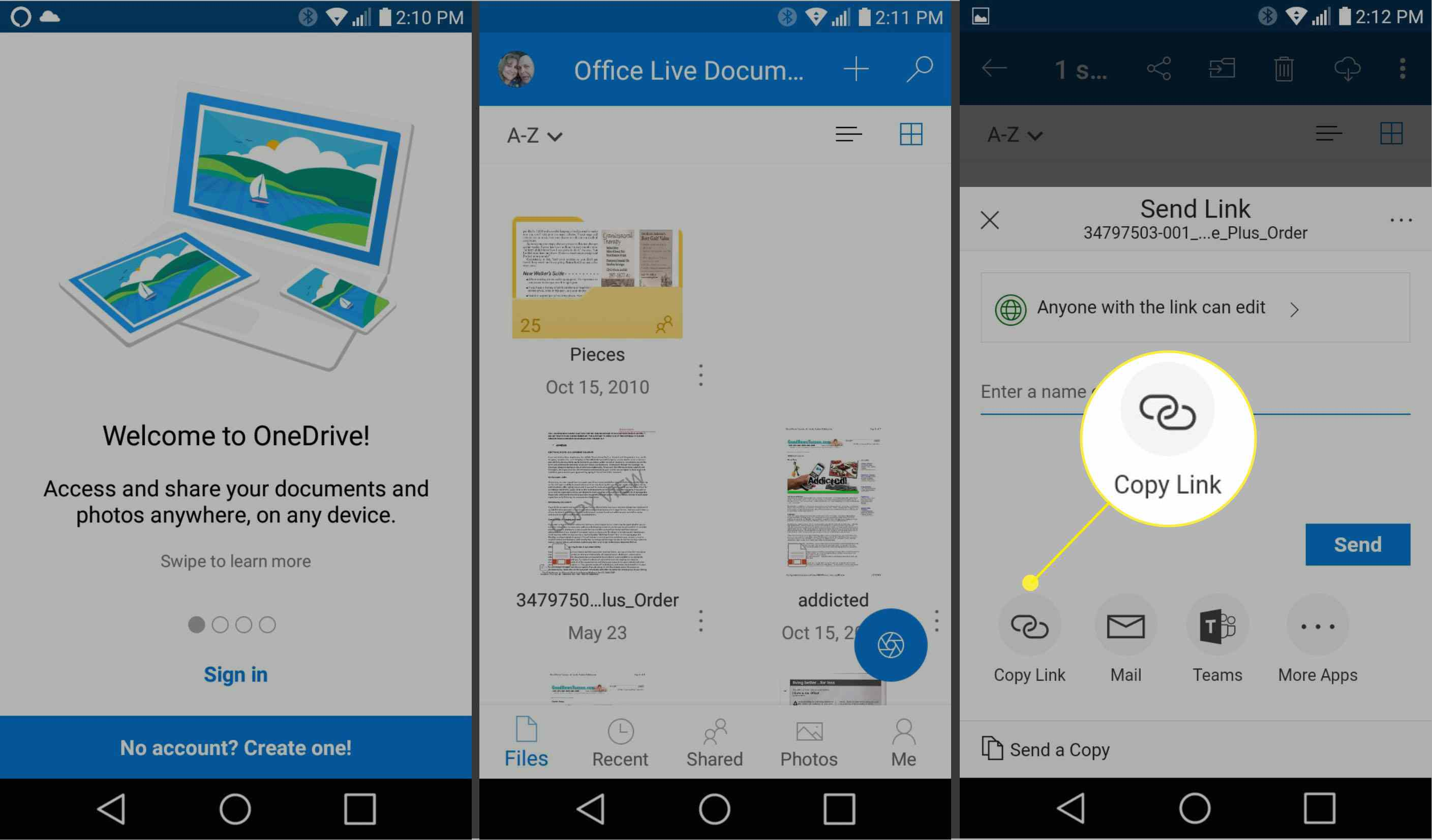 Screenshot of OneDrive on Android