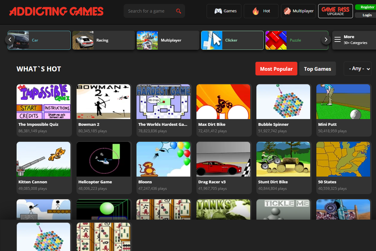 Trending free online games at Addicting Games