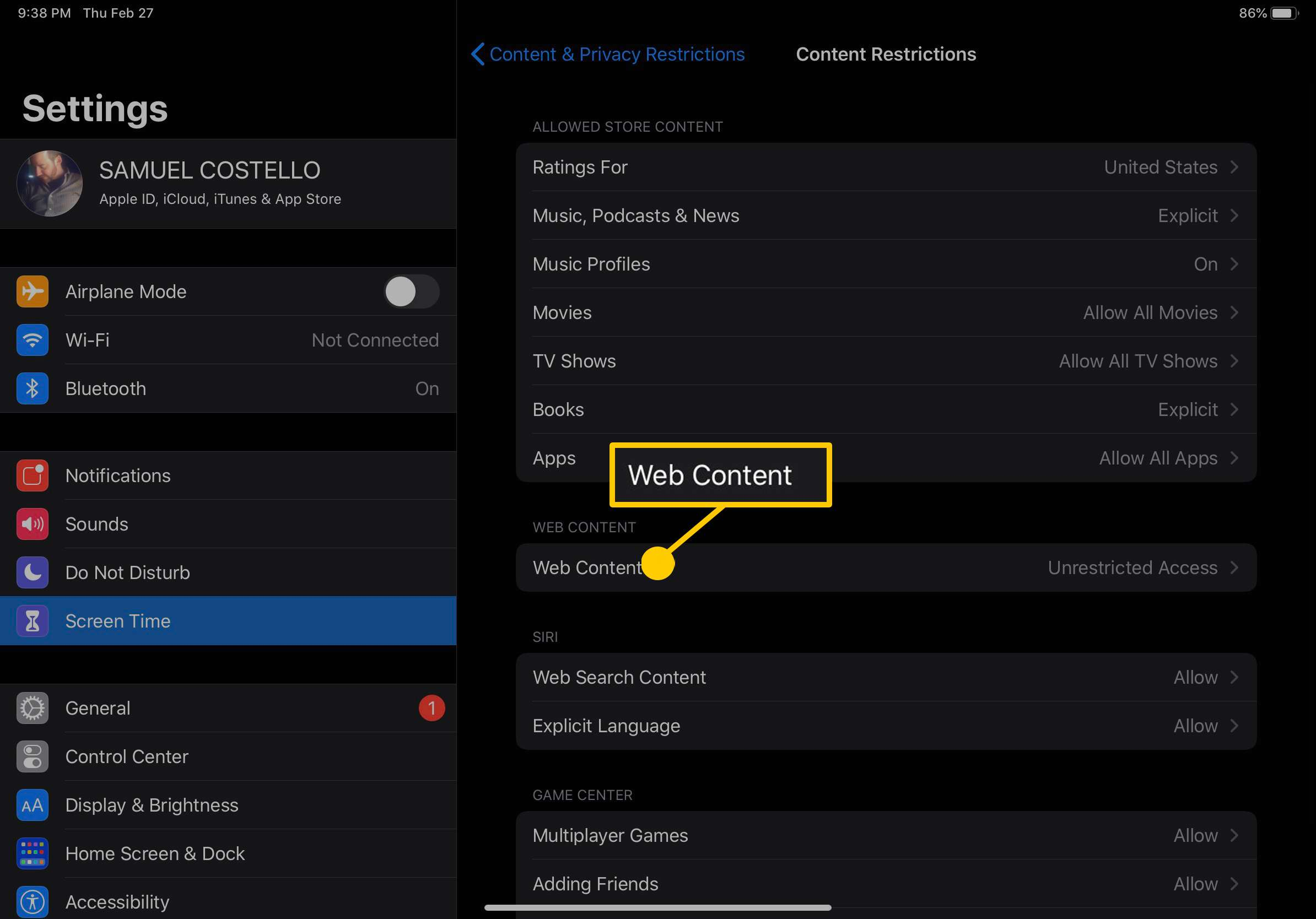 Screenshot of iPad Content Restrictions settings.