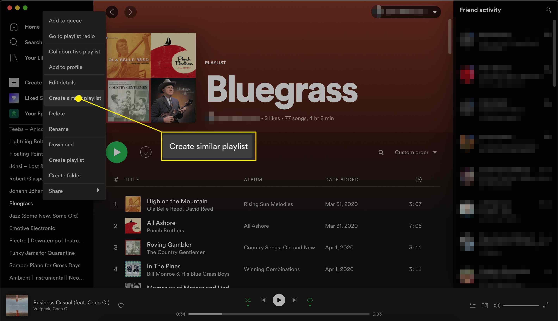 Spotify playlist create similar playlist
