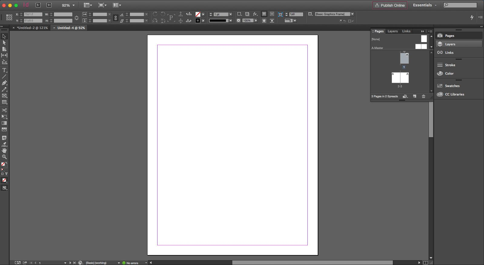 You start with a blank page or new document.