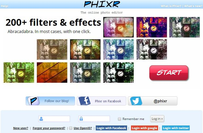 Phixr free online photo editor