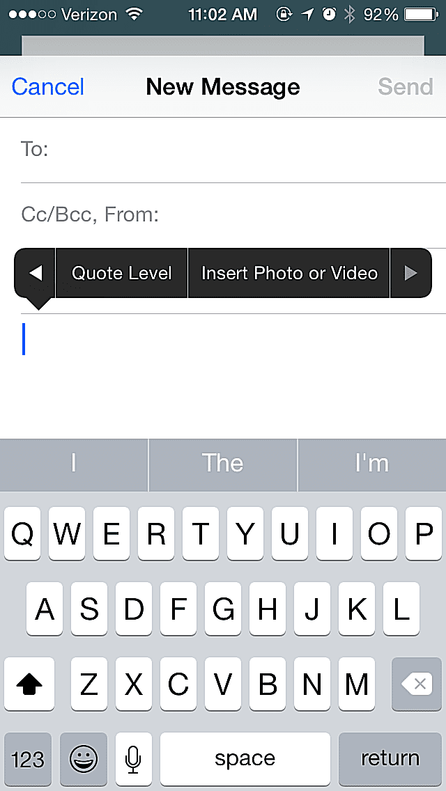 Attaching photo or video in iPhone email