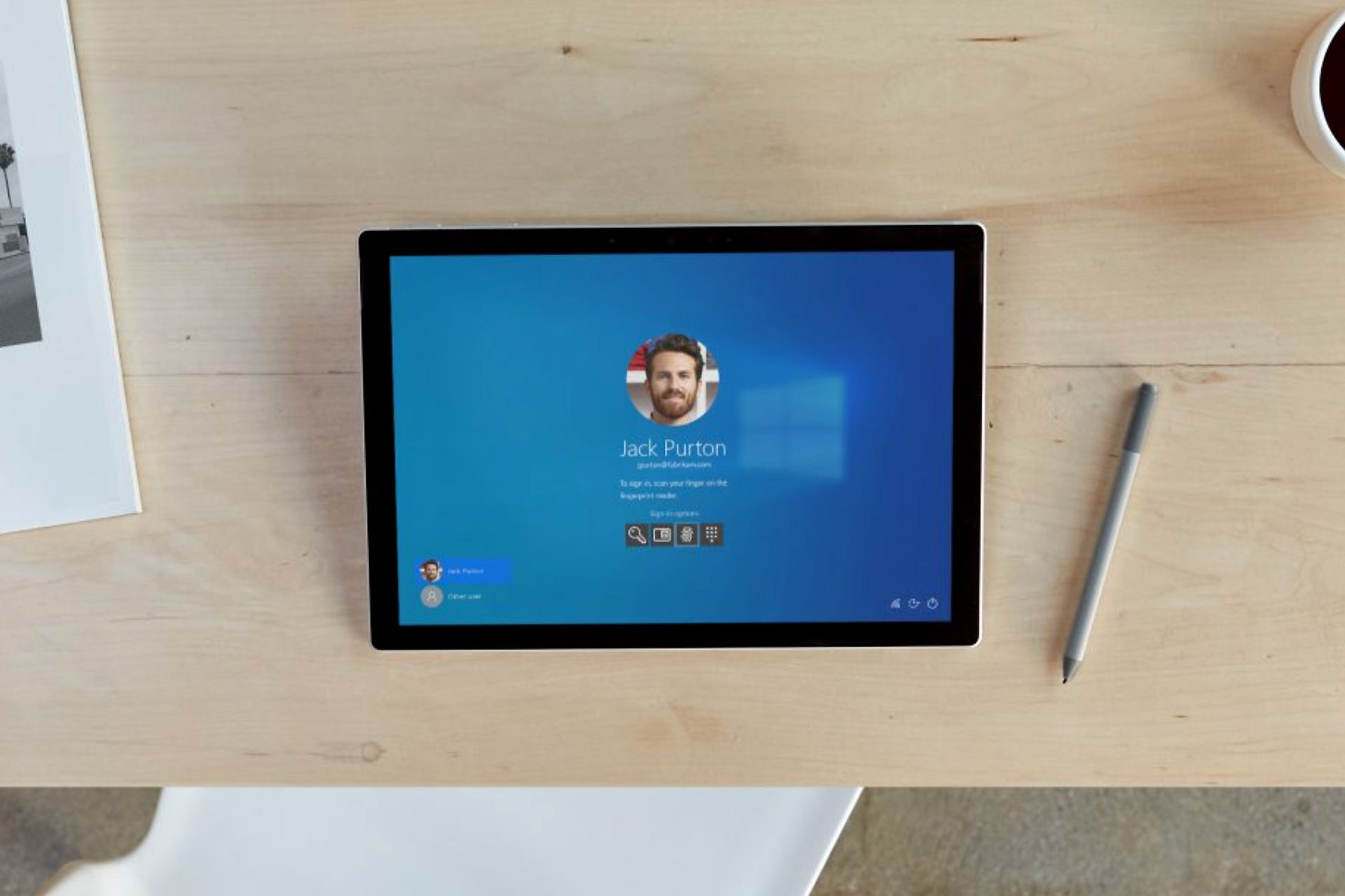 Photo of a Windows user's profile image on a Surface Pro.