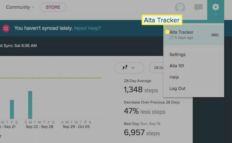 Alta Tracker under Settings