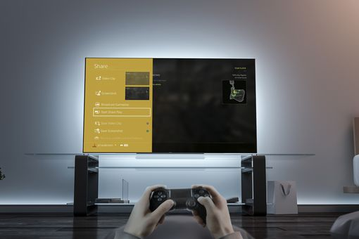 Gamesharing using Share Play on PS4 on a large television.