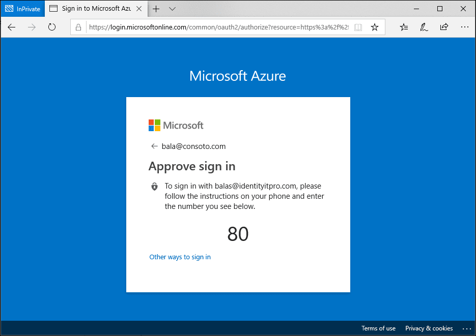 A concept screenshot of a web sign in with a Microsoft Authenticator app.