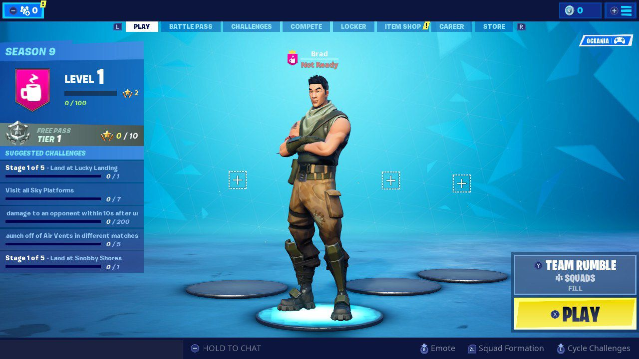 Fortnite on the Nintendo Switch console.