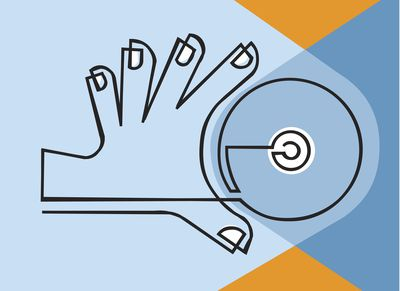 Illustration of a hand grabbing a disc