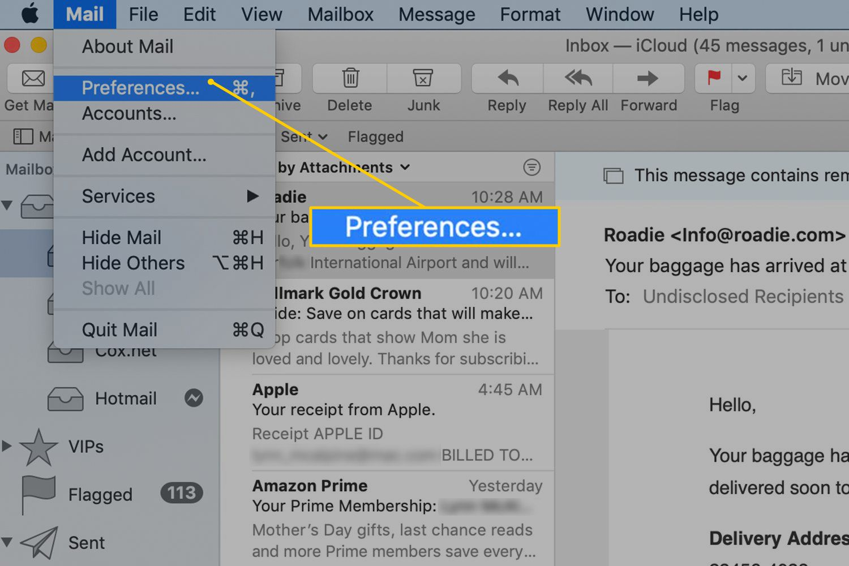 Preferences menu item in Apple Mail