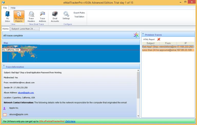 eMailTrackerPro 10 screenshot