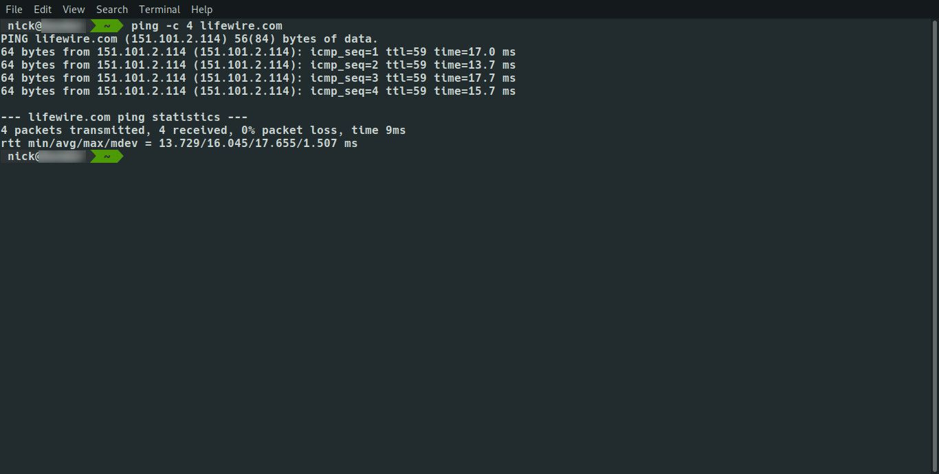 Linux ping with limited number