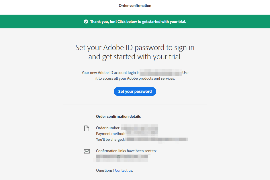 Set your adobe id password page