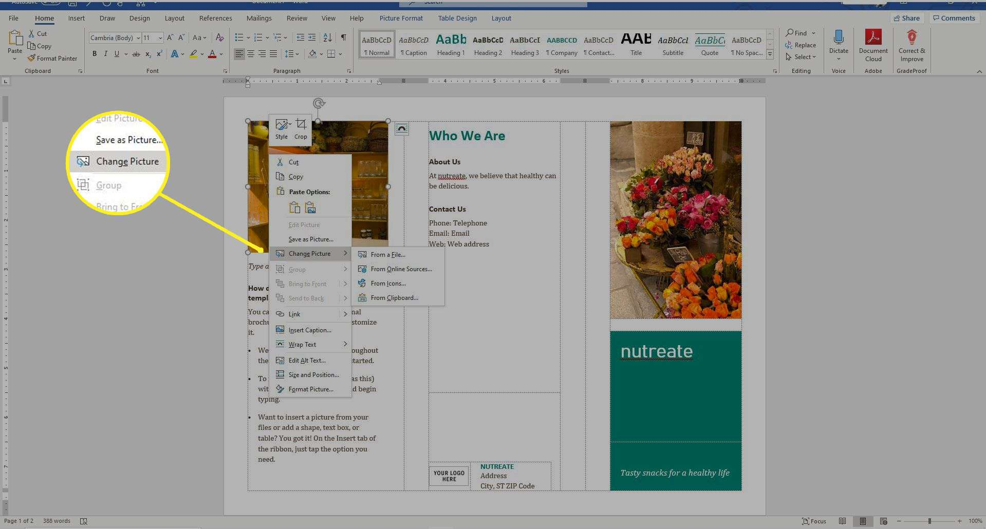 A brochure in Word with the Change Picture button highlighted