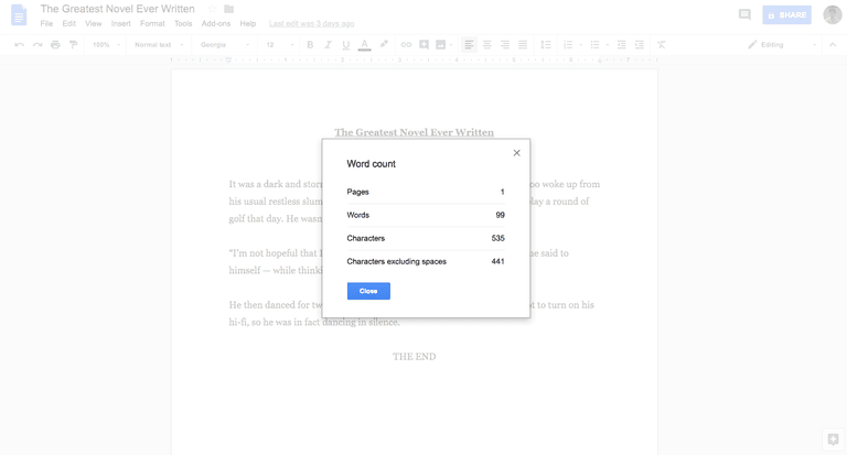 Google Docs word count