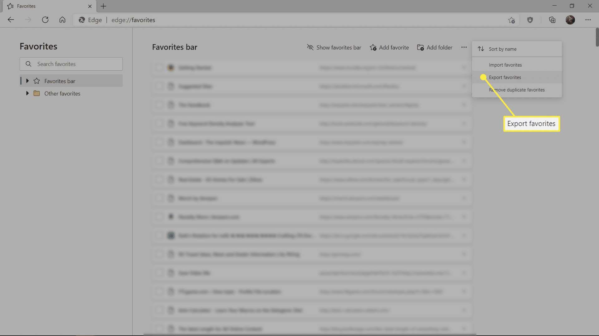 The Export favorites menu option in Microsoft Edge.