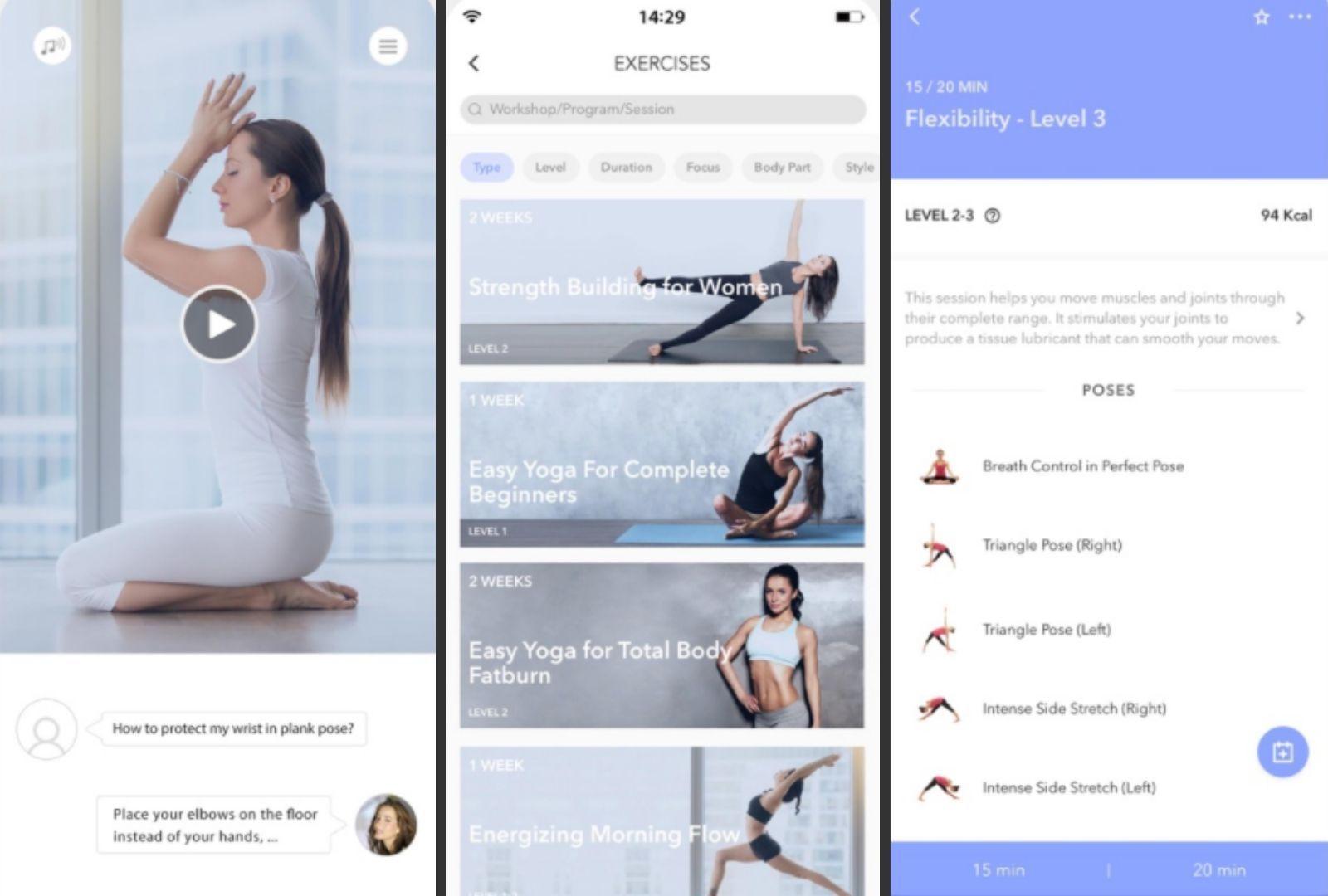 Three screenshots of Daily Yoga for iOS.