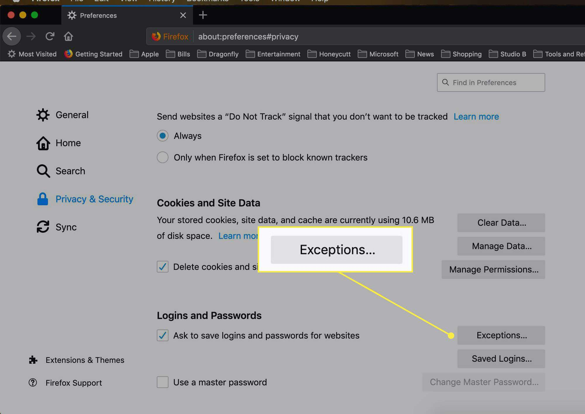 The Exceptions option in Firefox settings