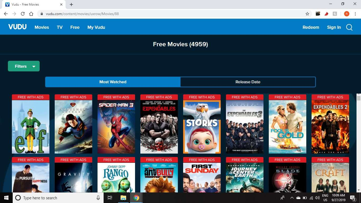 Vudu has hundreds of movies and TV shows that you can stream for free with ads.