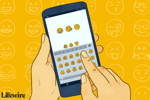 Illustration of someone texting with an emoji keyboard