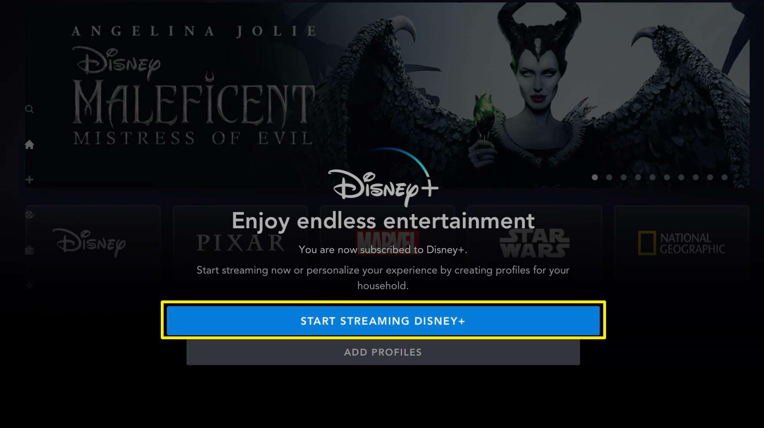 Screenshot of Disney+ get started screen on Apple TV