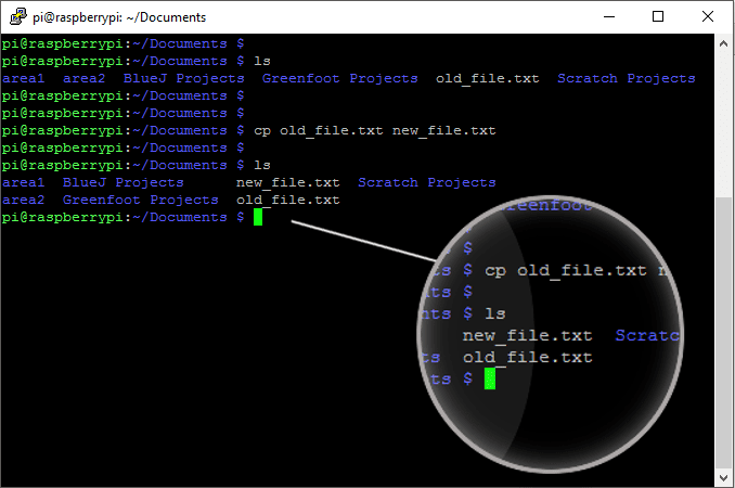 The cp command in the terminal helps copy files