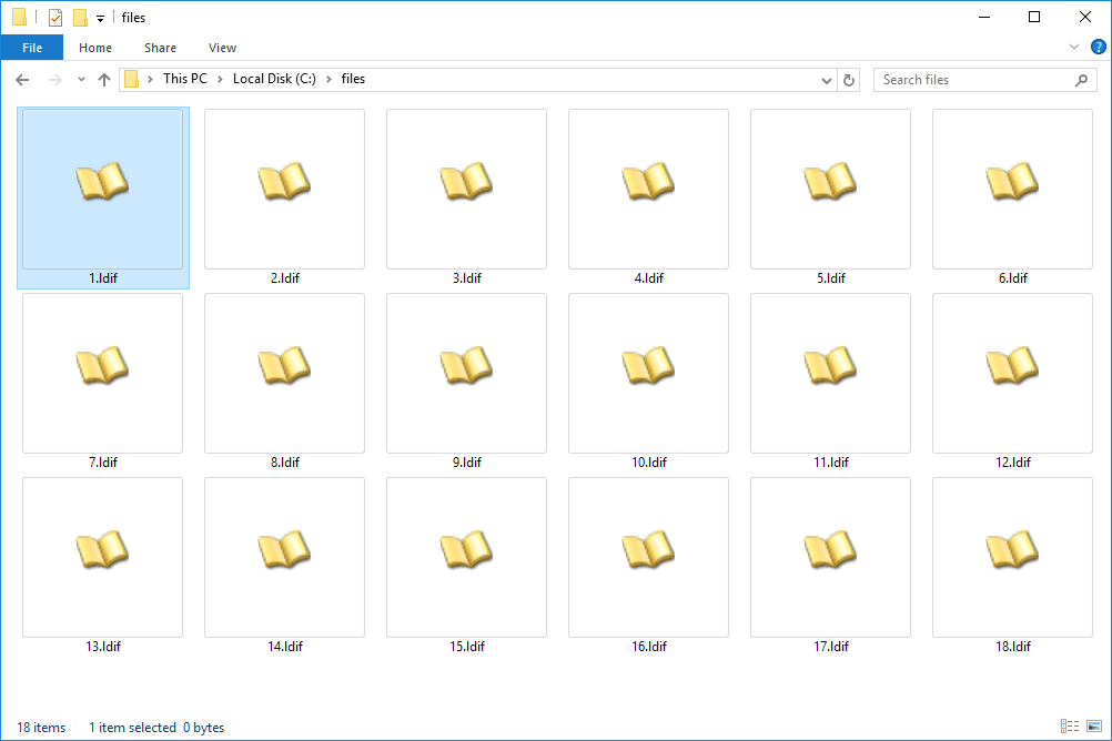 Screenshot of LDIF files in Windows 10