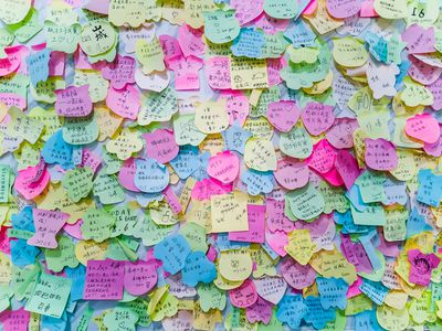 Full Frame Shot Of Wishing Notes On Wall