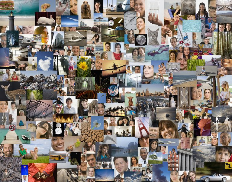 Montage of diverse people, places, and things