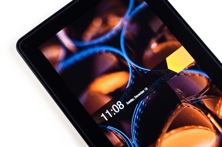 An Amazon Fire tablet with the lock screen enabled.