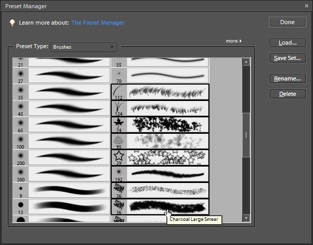 Selected presets will have a border around them