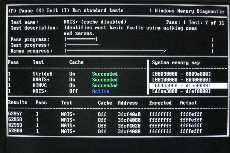 Screenshot of Windows Memory Diagnostic