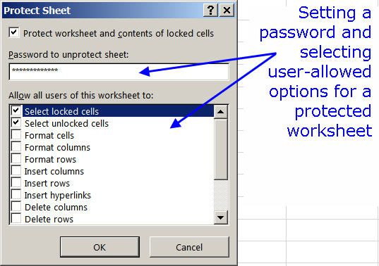 how to protect a sheet in excel 2013