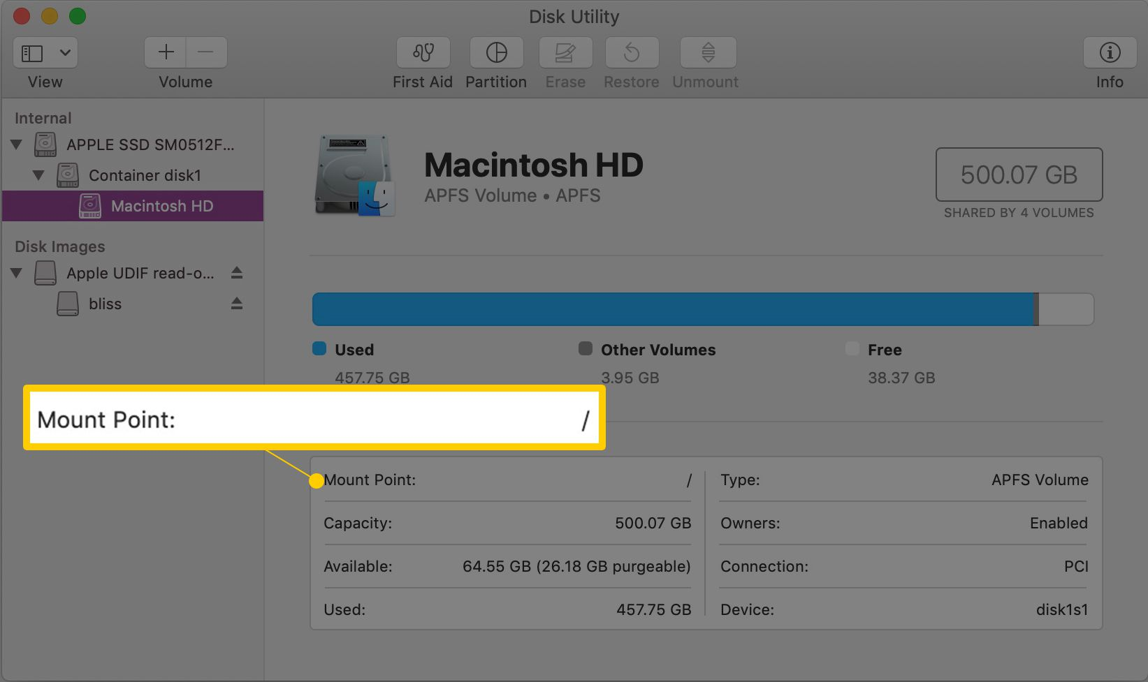 Mount Point: / in Disk Utility