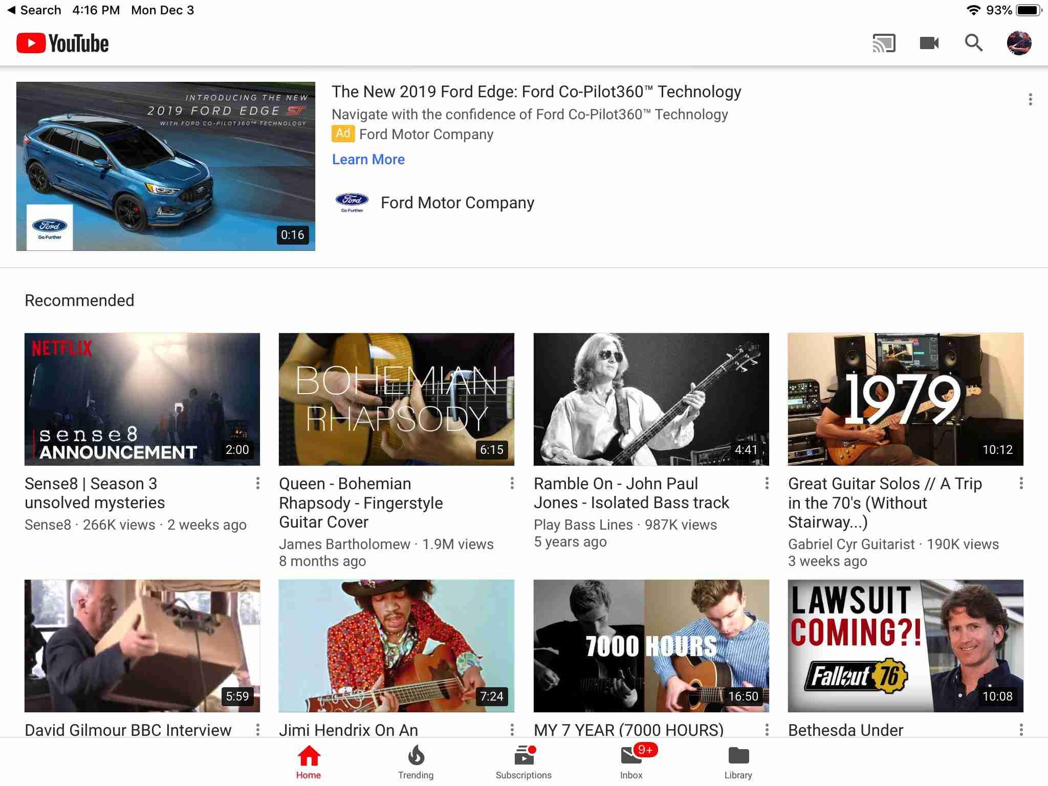 YouTube app screen on iPad