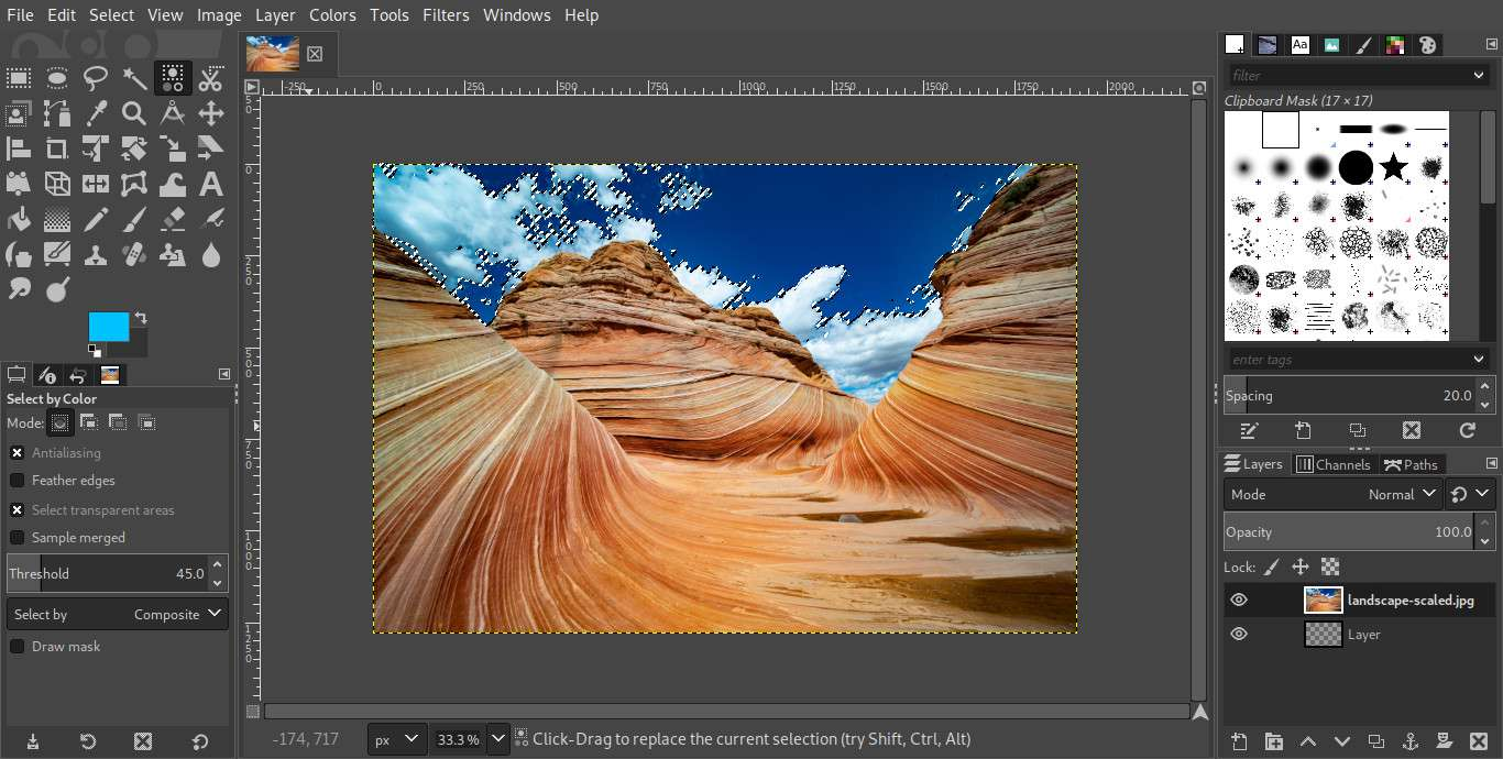 GIMP image greater selection