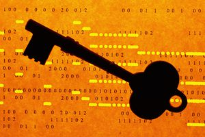 Key silhouette, on binary code - password concept image