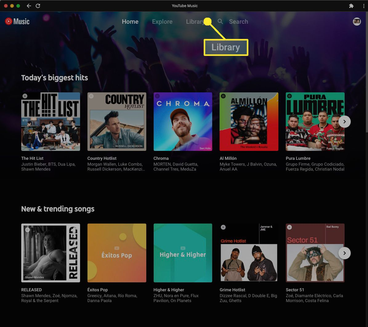 On your Chromebook, navigate to the YouTube Music app and select Library.