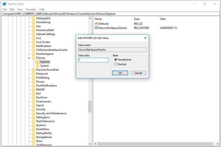 Screenshot of the NoLowDiskSpaceChecks registry value in Windows 10