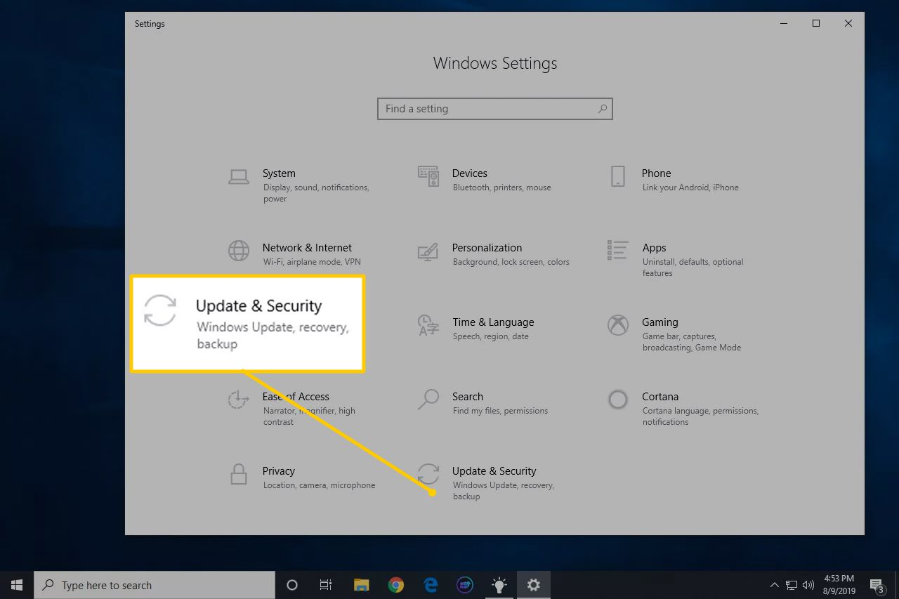 Update & Security icon in Windows Settings