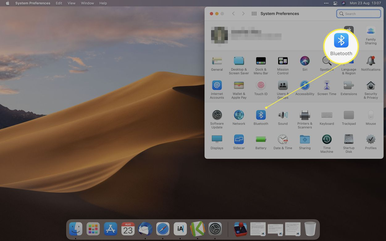 macOS System Preferences with Bluetooth icon highlighted